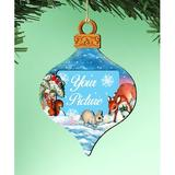 The Holiday Aisle® Photo Ornament Wood in Blue/Brown, Size 5.5 H x 5.0 W x 0.25 D in | Wayfair 276AFDCE8E934A0C95F41BEFDF1673E4