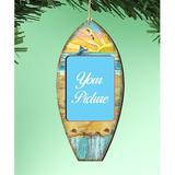 The Holiday Aisle® Surfboard Photo Ornament Wood in Blue/Brown, Size 5.5 H x 5.0 W x 0.25 D in | Wayfair 84B59C409929402FBD1D107E38C17368