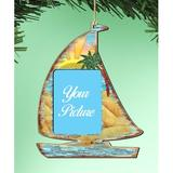 The Holiday Aisle® Sailboat Photo Ornament Wood in Blue/Brown, Size 5.5 H x 5.0 W x 0.25 D in | Wayfair 2E65C6E912ED41A1B4EFCDD334825830