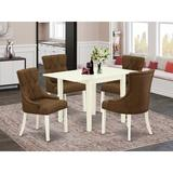Winston Porter Newsburg Drop Leaf Solid Wood Dining Set Wood/Upholstered Chairs in White, Size 30.0 H in   Wayfair 6960B72F839B45AE841DB47F3FF58E49
