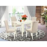 Winston Porter Carbury Drop Leaf Solid Wood Dining Set Wood/Upholstered Chairs in White, Size 30.0 H in   Wayfair CE55CBFECF9D4AE29D4074FCA26522D3