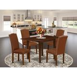 Winston Porter Tremblant Drop Leaf Rubberwood Solid Wood Dining Set Wood/Upholstered Chairs in Brown, Size 30.0 H in   Wayfair