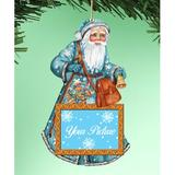 The Holiday Aisle® Santa Photo Ornament Wood in Blue/Brown, Size 5.5 H x 5.0 W x 0.25 D in | Wayfair F5C3283C8CB441C3BB4C97706BE4318A