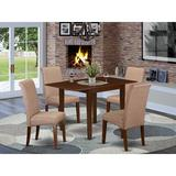 Winston Porter Carbury Drop Leaf Solid Wood Dining Set Wood/Upholstered Chairs in Brown, Size 30.0 H in   Wayfair D59649F394884E66B4312987CA4AA5BF