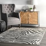 World Menagerie Skellytown Animal Print Area Rug Polypropylene in Black, Size 120.0 H x 96.0 W x 0.43 D in | Wayfair