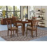 Winston Porter Talulah Drop Leaf Solid Wood Dining Set Wood/Upholstered Chairs in Brown, Size 30.0 H in | Wayfair 3CCE0BEFF6724AA5A85D43712E45032E