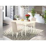 Ophelia & Co. Aquinnah Bar Height Drop Leaf Solid Wood Rubberwood Dining SetWood/Upholstered Chairs in White, Size 30.0 H in | Wayfair