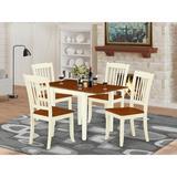 Winston Porter Sherwinn Drop Leaf Solid Wood Dining Set Wood in White, Size 30.0 H in | Wayfair AE75E422368A4FE89A68EDD51CCA9833