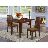 Winston Porter Tildon Drop Leaf Rubberwood Solid Wood Dining Set Wood/Upholstered Chairs in Brown/Red, Size 30.0 H in | Wayfair
