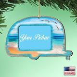 The Holiday Aisle® Camper Photo Ornament Wood in Blue/Brown, Size 5.5 H x 5.0 W x 0.25 D in | Wayfair F033CF5F63D046A3880C6517F463D0A2