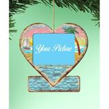 The Holiday Aisle® Heart Photo Ornament Wood in Blue/Brown, Size 5.5 H x 5.0 W x 0.25 D in | Wayfair 2925873D34214AABAC277B01FB047474