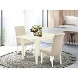 Winston Porter Carbury Drop Leaf Solid Wood Dining Set Wood/Upholstered Chairs in White, Size 30.0 H in   Wayfair C416C6C9405448DC8932126E0E5A7325