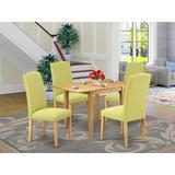 Winston Porter Herschfield Drop Leaf Rubberwood Solid Wood Dining Set Wood/Upholstered Chairs in Brown, Size 30.0 H in   Wayfair