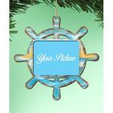 The Holiday Aisle® Captains Wheel Photo Ornament Wood in Blue/Brown, Size 5.5 H x 5.0 W x 0.25 D in | Wayfair A702A01FBCD74E91B885FCDA8295F3FC