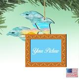 The Holiday Aisle® Twin Dolphins Photo Ornament Wood in Blue/Brown/Orange, Size 5.5 H x 5.0 W x 0.25 D in | Wayfair