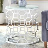 Orren Ellis Transom Glass Frame End Table Glass/Metal in White, Size 24.4 H x 23.6 W x 23.6 D in | Wayfair F253617A9A4C44C0A62A2DB2600143EB