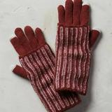 Anthropologie Accessories | Anthropologie Stripe Cuff Gloves Wine | Color: Red | Size: Os