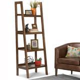 Sawhorse SOLID WOOD 72 inch x 24 inch Modern Industrial Ladder Shelf in Medium Saddle Brown - Simpli Home 3AXCSAW-05