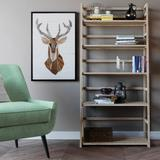 Acadian SOLID WOOD 63 inch x 30 inch Transitional Ladder Shelf Bookcase in Distressed Grey - Simpli Home AXSS008KD-GR