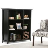 Acadian SOLID WOOD 48 inch x 44 inch Transitional 9 Cube Bookcase and Storage Unit in Black - Simpli Home AXCB222-BL