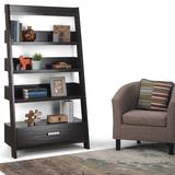 Deanna SOLID WOOD 66 inch x 36 inch Contemporary Ladder Shelf in Dark Chestnut Brown - Simpli Home AXCDNA-15-BR