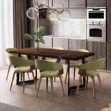 Lowell Mid Century Modern 7 Pc Dining Set with 6 Upholstered Bentwood Dining Chairs in Acid Green Linen Look Fabric and 72 inch Wide Table - Simpli Home AXCDS7LOWAG