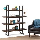 Adler SOLID WOOD and Metal 66 inch x 54 inchRectangle Industrial Bookcase in Light Walnut Brown - Simpli Home AXCADR-12