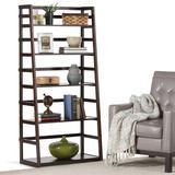 Acadian SOLID WOOD 63 inch x 30 inch Transitional Ladder Shelf Bookcase in Brunette Brown - Simpli Home AXCRACA27-BRU