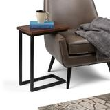 Skyler SOLID MANGO WOOD and Metal 18 inch Wide Rectangle Industrial C Side Table in Dark Cognac Brown, Fully Assembled - Simpli Home 3AXCSKY-09