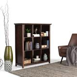 Acadian SOLID WOOD 48 inch x 44 inch Rustic 9 Cube Bookcase and Storage Unit in Tobacco Brown - Simpli Home AXCB222