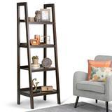 Sawhorse SOLID WOOD 72 inch x 24 inch Modern Industrial Ladder Shelf in Dark Chestnut Brown - Simpli Home 3AXCSAW-05-BR