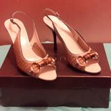 Gucci Shoes | Authentic Gucci Sling Back Sandals | Color: Gold | Size: 7