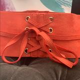 Anthropologie Accessories | Anthropologie Suede Obitie Front Belt | Color: Orange | Size: Os