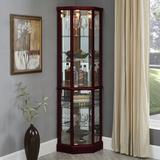 Charlton Home® Franklyn Corner Curio CabinetWood in Brown, Size 70.0 H x 23.5 W x 18.5 D in   Wayfair D9DD151A0CFC4F00B8FD2B5BF3D67041