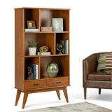 Draper SOLID HARDWOOD 64 inch x 35 inch Mid Century Modern Wide Bookcase and Storage Unit in Teak Brown - Simpli Home 3AXCDRP-13-TK