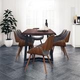 Malden Mid Century Modern 7 Pc Dining Set with 6 Upholstered Bentwood Back Dining Chairs in Grey and Natural Woven Fabric and 72 inch Wide Table - Simpli Home AXCDS7MALWG