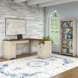 Bush Furniture Fairview L Shaped Desk and 5 Shelf Bookcase Antique White - FV007AW