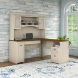 Bush Furniture Fairview L Shaped Desk with Hutch in Antique White - FVW002