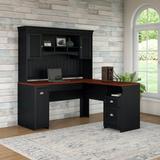 Bush Furniture Fairview L Shaped Desk with Hutch in Antique Black - FV004AB