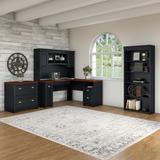 Bush Furniture Fairview L Shaped Desk w Hutch, Bookcase and Lateral File Cabinet Antique Black - FV006AB