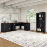 Bush Furniture Fairview L Shaped Desk w Bookcase and Lateral File Cabinet Antique Black - FV008AB
