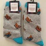 J. Crew Accessories | J. Crew Cotton 2 Pair Dog On Sled Socks. Christmas | Color: Blue/Gray | Size: Os