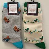J. Crew Accessories | J. Crew 2 Pairs Cotton Blend Christmas Socks | Color: Gray/White | Size: Os