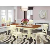 Astoria Grand Gillham Butterfly Leaf Rubberwood Solid Wood Dining Set Wood/Upholstered Chairs in Brown/White, Size 30.0 H in | Wayfair