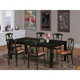 Darby Home Co Beesley Butterfly Leaf Rubberwood Solid Wood Dining SetWood/Upholstered Chairs in Black, Size 30.0 H in   Wayfair