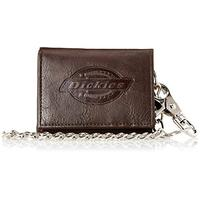 Dickies Men's Trifold Chain Wallet-High Security with ID Window and Credit Card Pockets, Dark Brown,