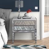 Gold Flamingo Cain 2 Drawer Nightstand in Antique SilverWood in Brown/Gray, Size 34.0 H x 34.0 W x 16.0 D in   Wayfair