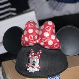 Disney Accessories | Disney Minnie Mouse Ears Hat | Color: Black/Red | Size: Os