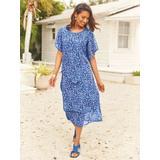 Women's Plus Floral Overlay Dress, Royal Blue 3XL