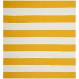 Zipcode Design™ Skyler Striped Handmade Flatweave Cotton Yellow/White Area Rug Cotton in Brown/White/Yellow, Size 48.0 W x 0.25 D in   Wayfair
